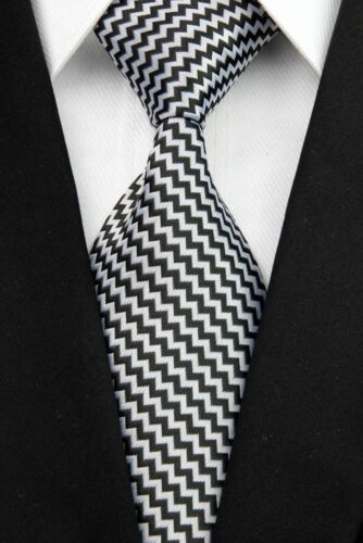 GIFTS FOR MEN Classic Mens Mini Zig Zag Stripe Silk Necktie Work Tie Black White