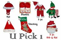 Christmas Baby First Hat Booties Stocking Outfit Holiday Boys Girls Santa Infant