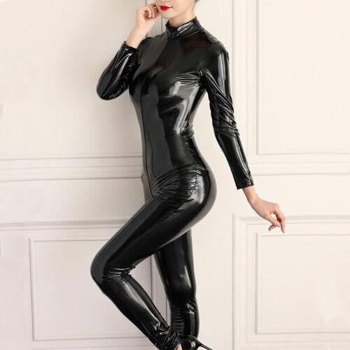 Women/'s Wet Look Shiny Two Way Zipper Catsuit Leather Bodysuit Jumpsuit Clubwear