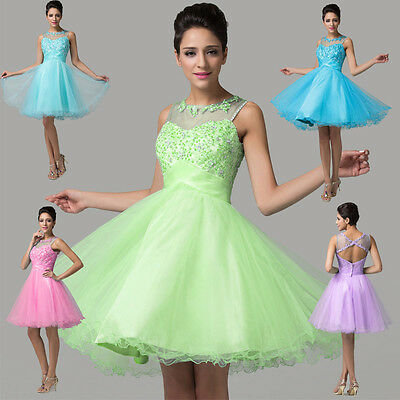 Beaded Short Cocktail Party Dresses Evening Formal Bridesmaid Wedding Prom Dress