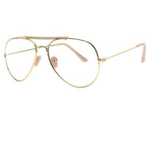 b30172d0986ca Classic Vintage Retro PILOT Clear Lens Gold Metal Frame Eyeglasses ...