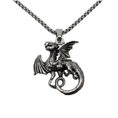 New Mens Stainless Steel Fly Dragon Punk Biker Vintage Pendant Necklace Jewelry
