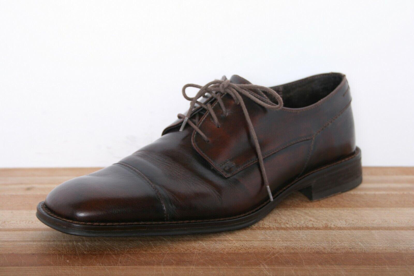 JOHNSTON & MURPHY Brown Leather Square Cap Toe Oxfords Dress shoes Sz. 9M