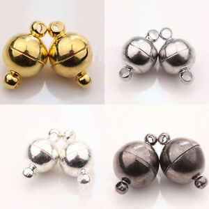 5-10-Sets-Silver-Gold-Plated-Round-Strong-Magnetic-Clasps-Hooks-Jewelry-Findings