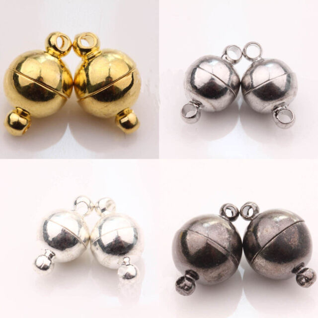 Jewelry DIY 12mm White Gold Plated Round Strong Magnetic Clasp Connectors 5 Pcs