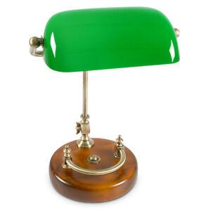 Bankerlampe grün mit Holzfuß Messing-Optik 30er Jahre Schreibtischlampe neigbar