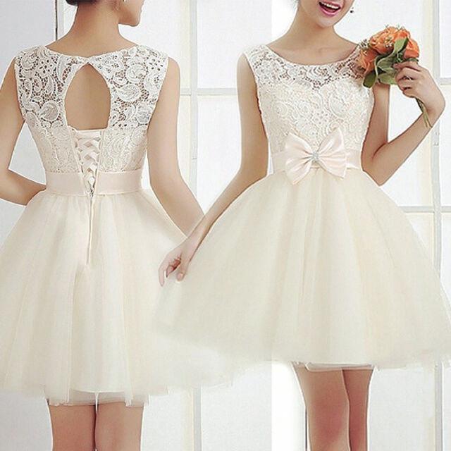 Fashion Women Sleeveless Lace Wedding Bridesmaid Party Evening Cocktail Dress