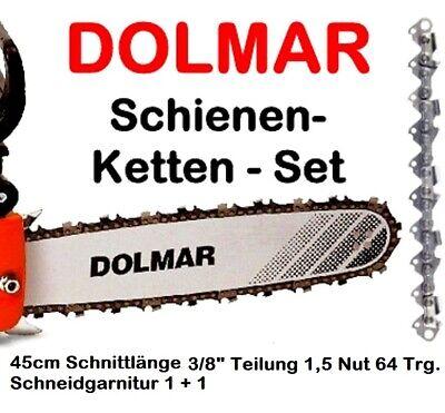 """45cm Schwert 3//8/"""" 2 Ketten 64TG 1,5mm für Dolmar PS52"""