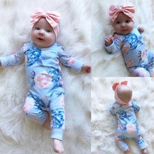 ada64b3ce Image is loading 2Pcs-Newborn-Baby-Girl-Floral-Romper-Jumpsuit-Cotton-