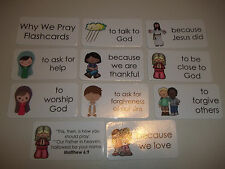 10 pack Why We Pray themed flashcards.  Preschool Bible study curriculum activit