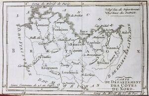 Côtes d'Armor en 1791 Lambale Broons Tréguier Matignon Loudéac Caillac Paimpol