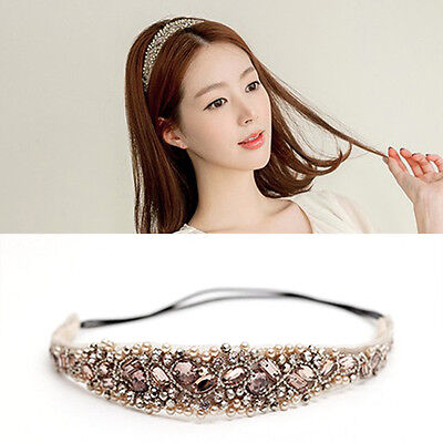 New Sweet Women Girls Lace Pearl Hairband Rhinestone Crystal Headband Head Piece