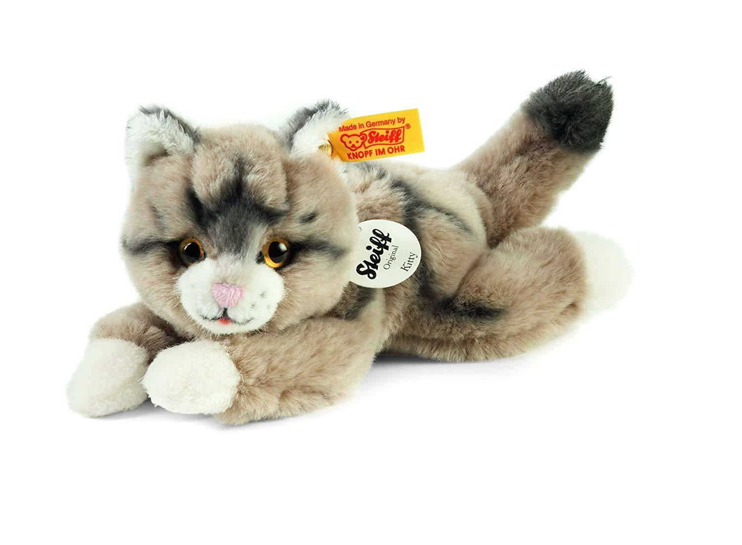 Steiff Grey Kitten Kitty brand new in sealed bag and steiff box with button