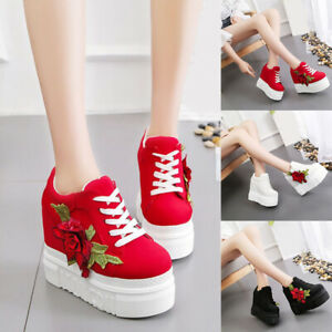 Embroidery Flower High Heel Casual