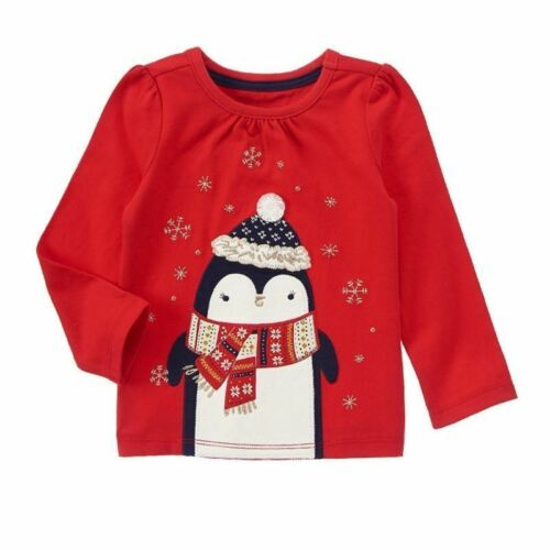 NWT Gymboree Girls Holiday Shop Penguin w// Scarf Top Size 12-18 18-24M 2T /& 3T