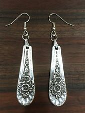 VINTAGE ANTIQUE SPOON FORK Wm Rogers Jubilee Floral Earrings Silverware Jewelry