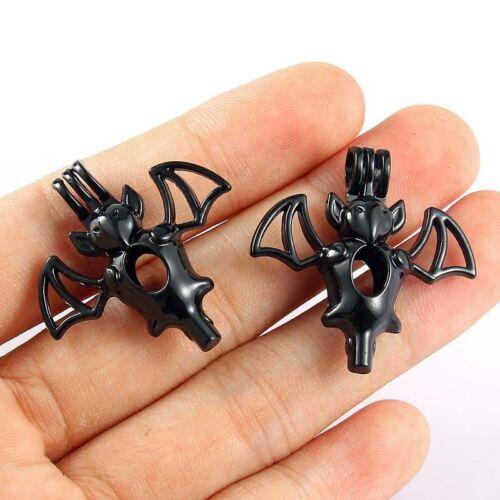 5Pcs chauve-souris noire perles Cage Pendentif À faire soi-même Collier Craft Making Jewelry Gift