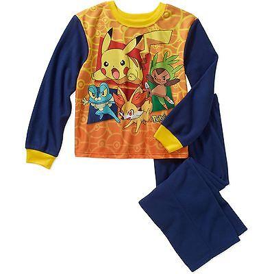 Pokemon 4 5 6 7 8 XS S M Boys 2 Piece Flannel Set New Sleepwear Pajamas