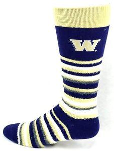 Washington-Huskies-NCAA-Muchas-Rayas-Crew-Fuzzy-Socks