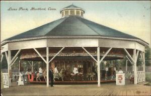 Hartford-CT-Luna-Park-Merry-Go-Round-Carousel-1909-Used-Postcard