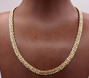 17 Quot 6mm Wide All Shiny Classic Byzantine Chain Necklace