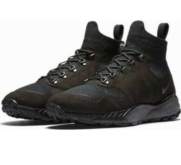 Nike Zoom Talaria Mid Flyknit Defender Triple Black Sneaker Boots 7.5 11 Mens