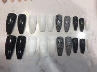 20 Nail Tips Coffin Shape Pre Designed Back White - False Nail Art