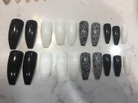 20 Nail Tips Coffin Shape Pre Designed Back White - False Nail Art