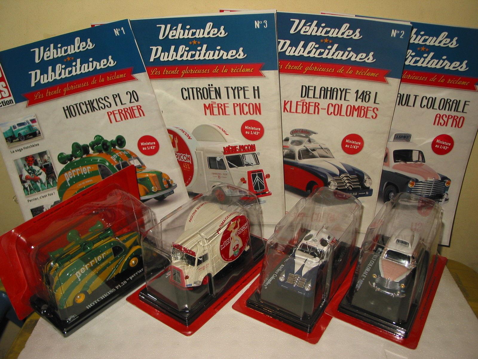 Lot de 4 miniatures SERIE TEST - HOTCHKISS PL20 DELAHAYE 148L CITROEN H COLORALE