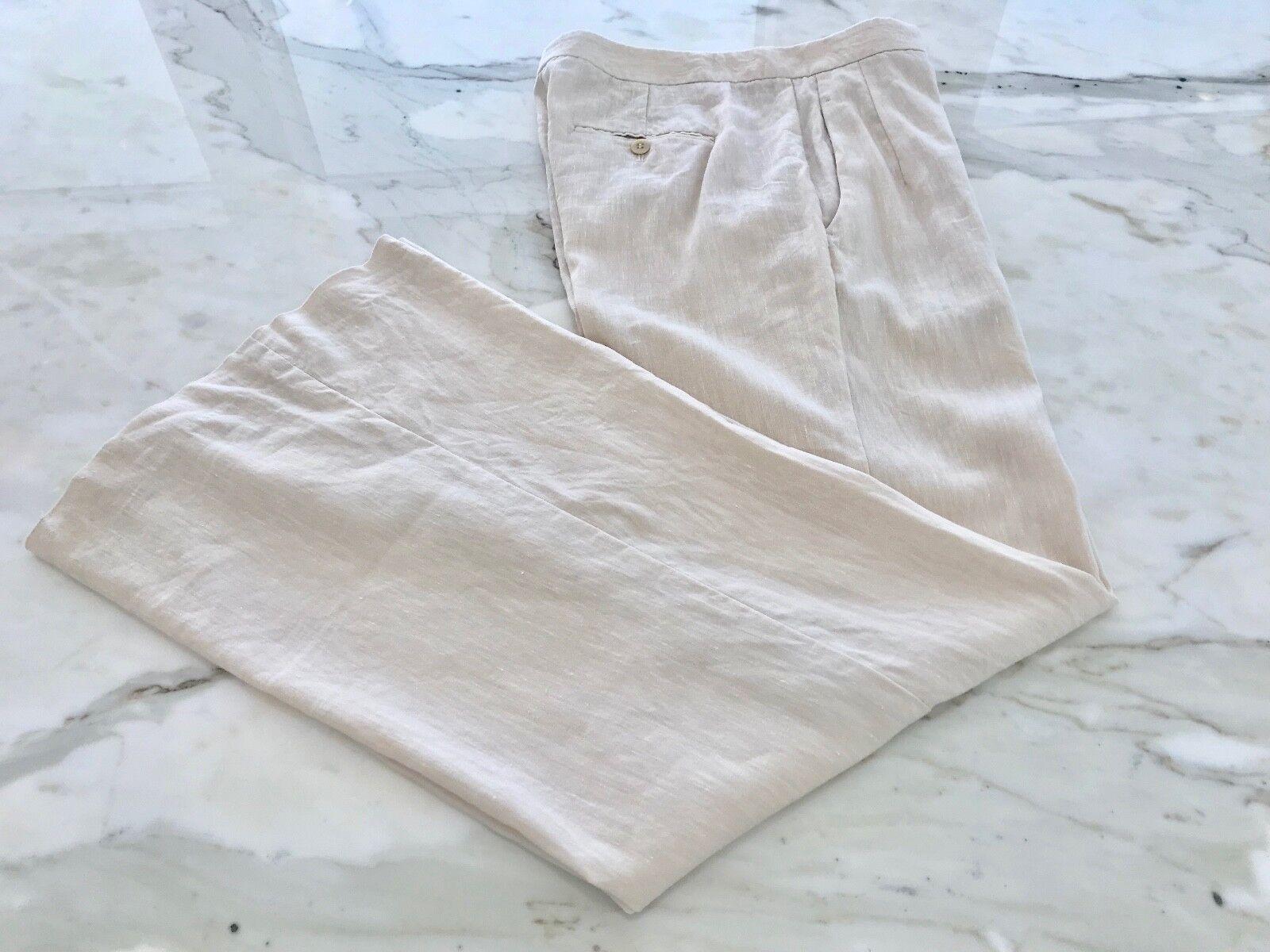 THEORY OATMEAL CREAM WOOL LINEN ELASTANE FLARE PANTS STYLE B0601206 SIZE 6