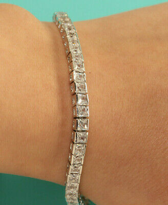 4.00 CT PRINCESS CUT DIAMOND TENNIS BRACELET 14K WHITE GOLD FINISH