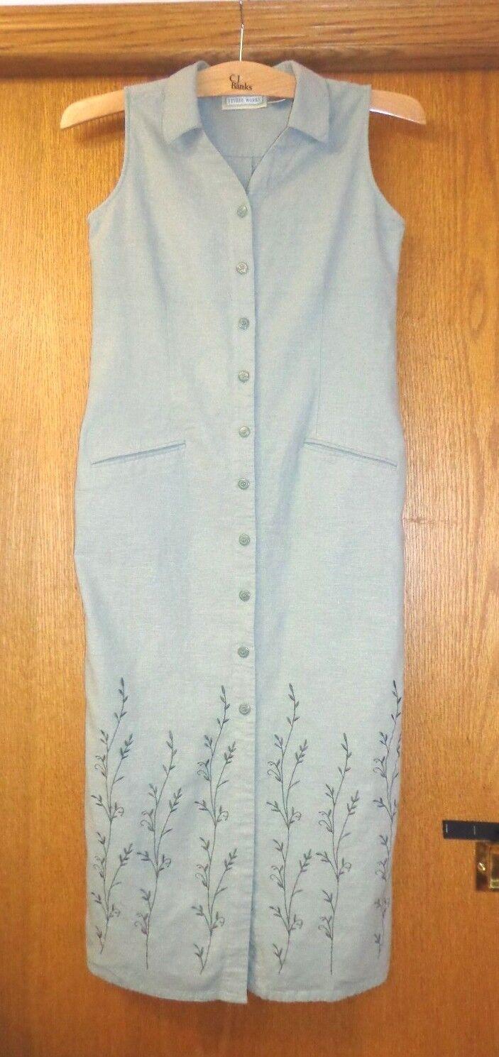 Womans sz S ~ Gray-Green DRESS ~ Studio Works Sheath ~ Linen Blend ~ Great Cond
