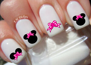 Image Is Loading Minnie Mouse Pink Bow Nail Art Stickers Transfers