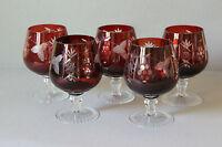 5 Stück Cognacglas Cognacschwenker Kristall geschliffen rot   051628