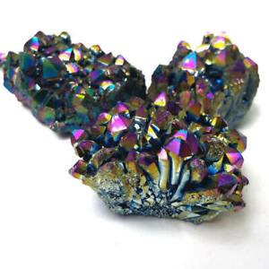Natural Aura Rainbow Titanium Quartz Crystal Cluster Mineral Specimen Healing