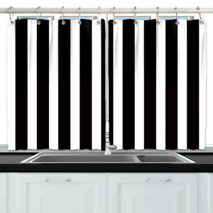 Details About Black And White Stripes Window Treatments For Kitchen Curtains 2 Panels 55x39