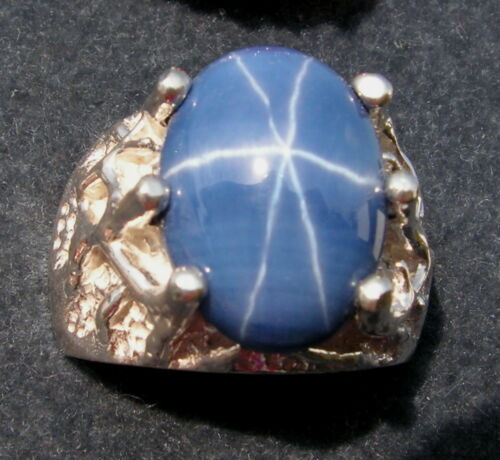 CT LINDE LINDY CRNFLWR BLUE STAR SAPPHIRE CREATED 2ND FF RING SS MENS 16X12mm 9