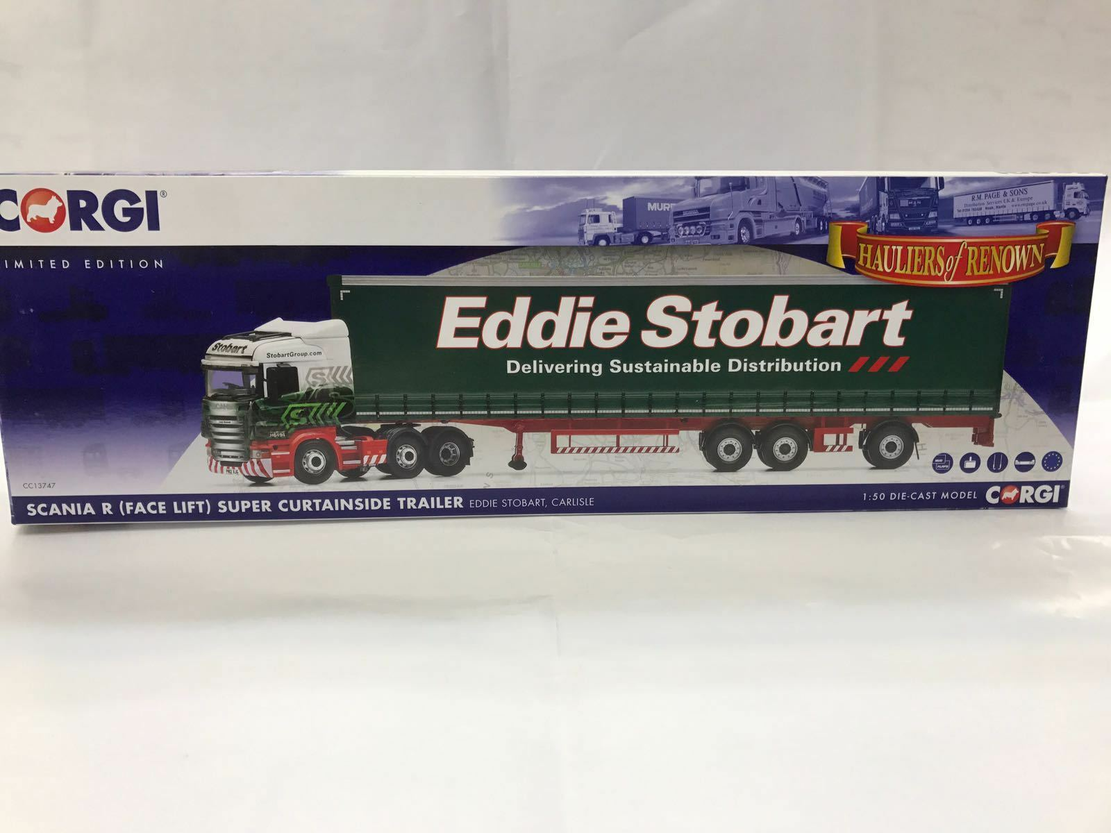 Corgi CC13747, Scania R (Face Lift) Lift) Lift) Super Curtainside Trailer, Eddie Stobart 390b89