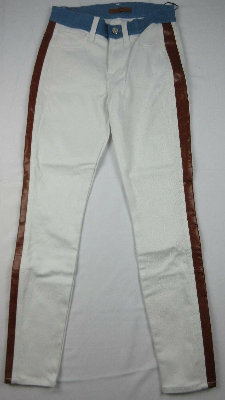 7 FOR ALL MANKIND Sz 23 WHITE STRETCH TUXEDO FAUX LEATHER SKINNY JEANS NWT