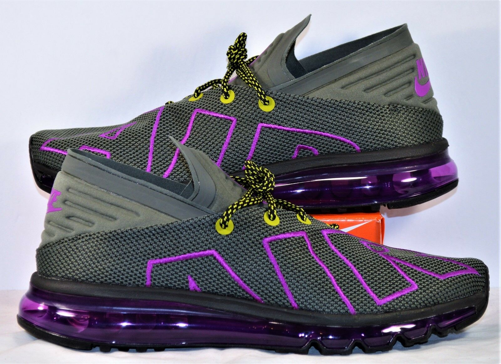 Nike Air Max Flair Up Tempo Gray Purple Volt Running Shoes Sz 11 NEW AH9711 001 Wild casual shoes