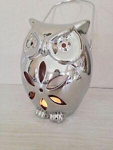 Eule-Teelichthalter-Windlicht-Silber-Keramik-17-5-cm-Laterne-Aufhaenger