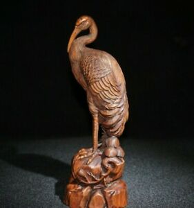 Collect noble decor natural Boxwood carved crane on pine trees lucky Statue 松鹤延年