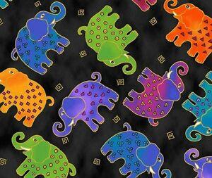 Mythical-Jungle-Elephant-Toss-Y2139-3M-Black-w-Metallic-by-Laurel-Burch-BTY