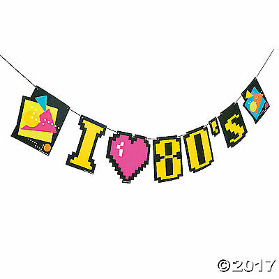 TOTALLY 80s Party Decoration Paper Hanging Banner Garland 9 ft