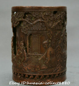 Collect-Chinese-old-bronze-hand-carve-old-man-pine-tree-brush-pot-pencil-vase