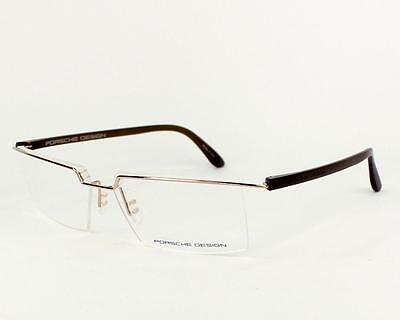 0f5754e165d0 New Porsche Design P 8227 B Gold   Dark Brown Half Rim Eyeglasses Frames  Size 55