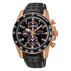 Seiko-SSC274-Sportura-Solar-Chronograph-Black-Dial-Leather-Strap-Mens-Watch-New