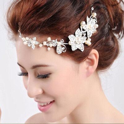 Argent Diadème strass fleur mariage pr Mariée perles bandeau de cheveux Cristal