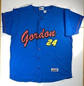 Vtg-2000-NASCAR-Jeff-Gordon-Button-Up-Jersey-Shirt-Large-Blue-Competitors-View