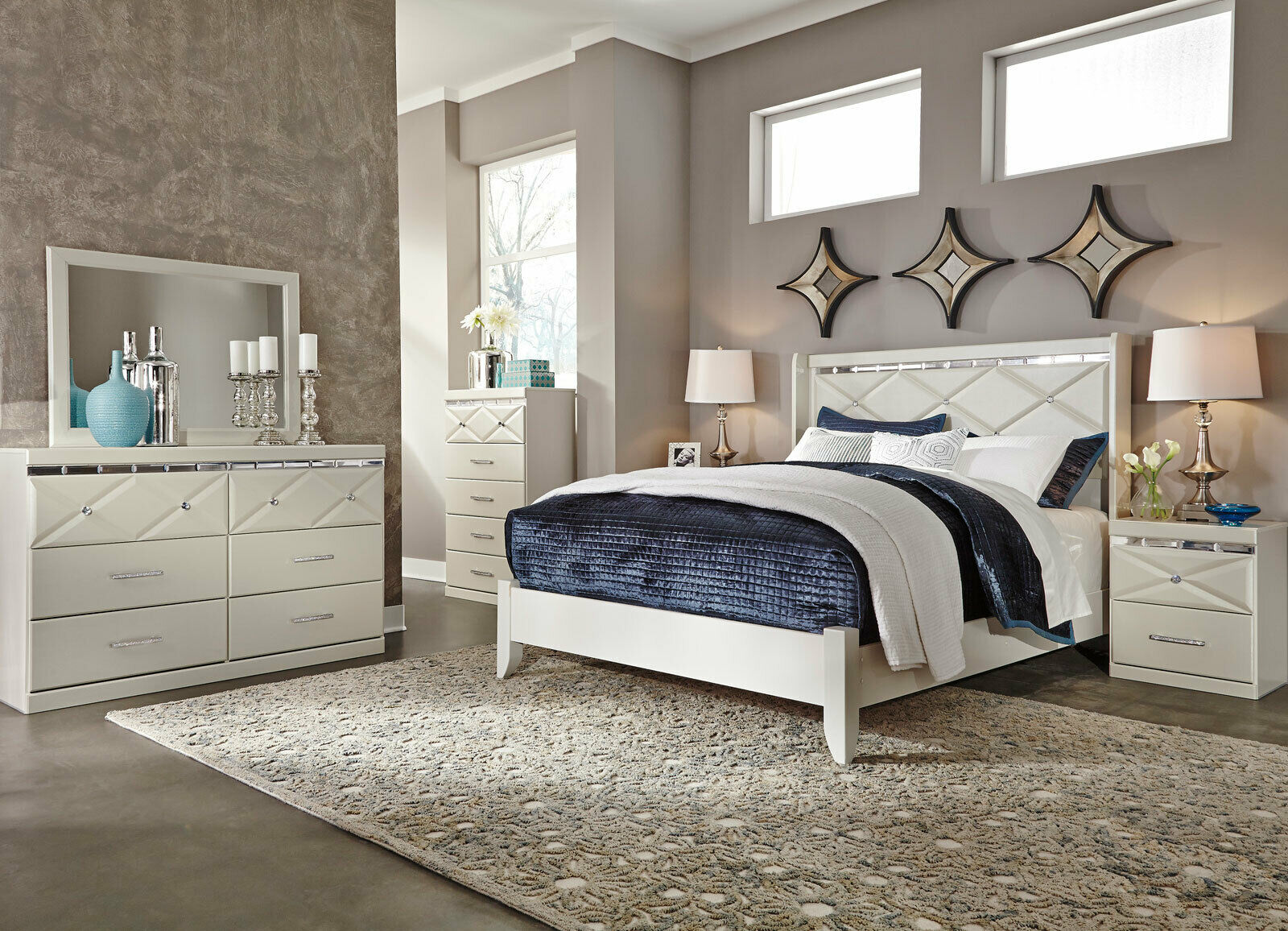 Modern White 5 pieces Bedroom Set with King Bed Dresser Mirror Nightstands  IA5P